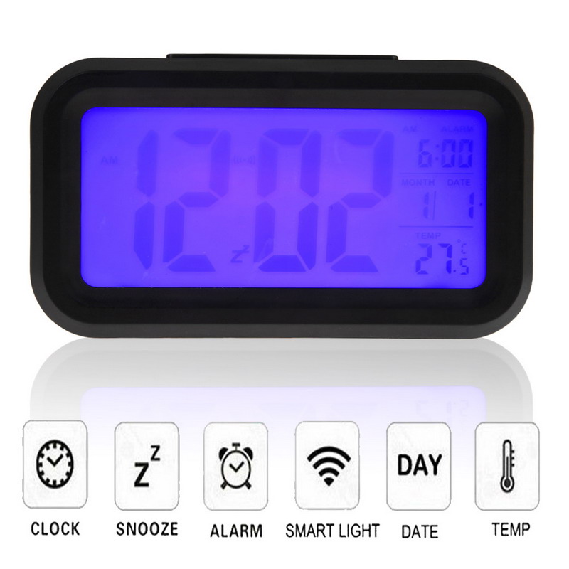 Digital Snooze Electronic Alarm Clock Despertador Watches with LED Backlight Light Calendar Control PTSP