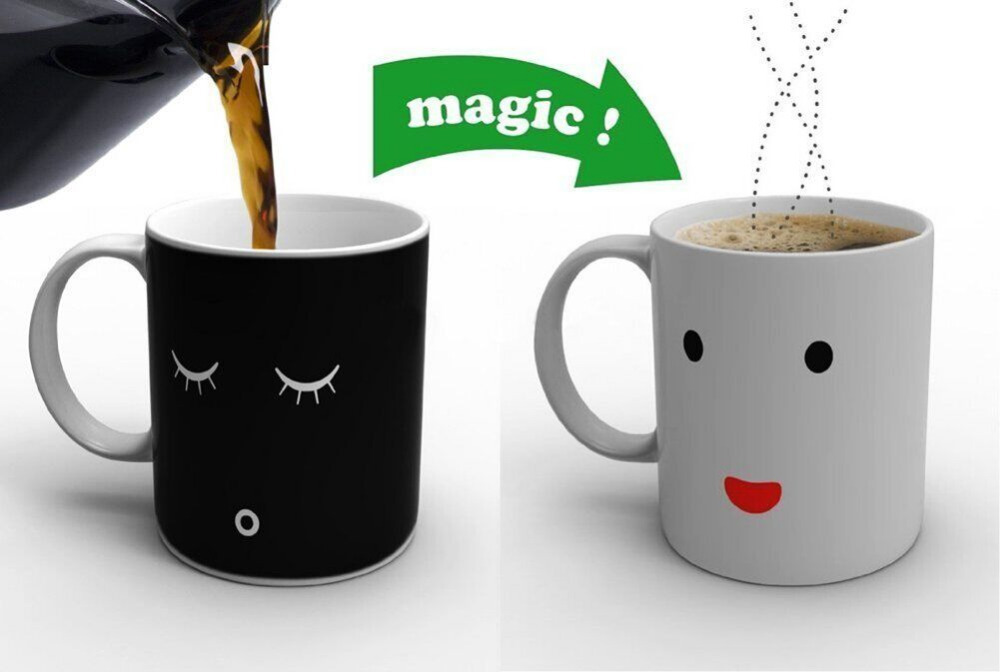 2015Hot new Morning Mug magic color change coffee tea ceramic cup birthday gift love present(China (Mainland))