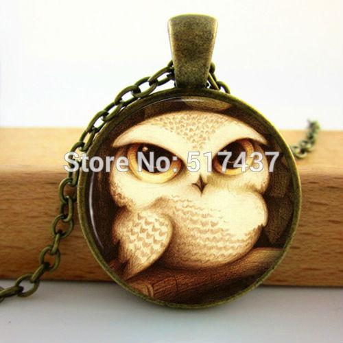 Wholesale Glass Owl Pendant Necklace Antique Style Cute Baby Bird Art Glass Cabochon Necklace Glass Photo Pendant Neckalce(China (Mainland))