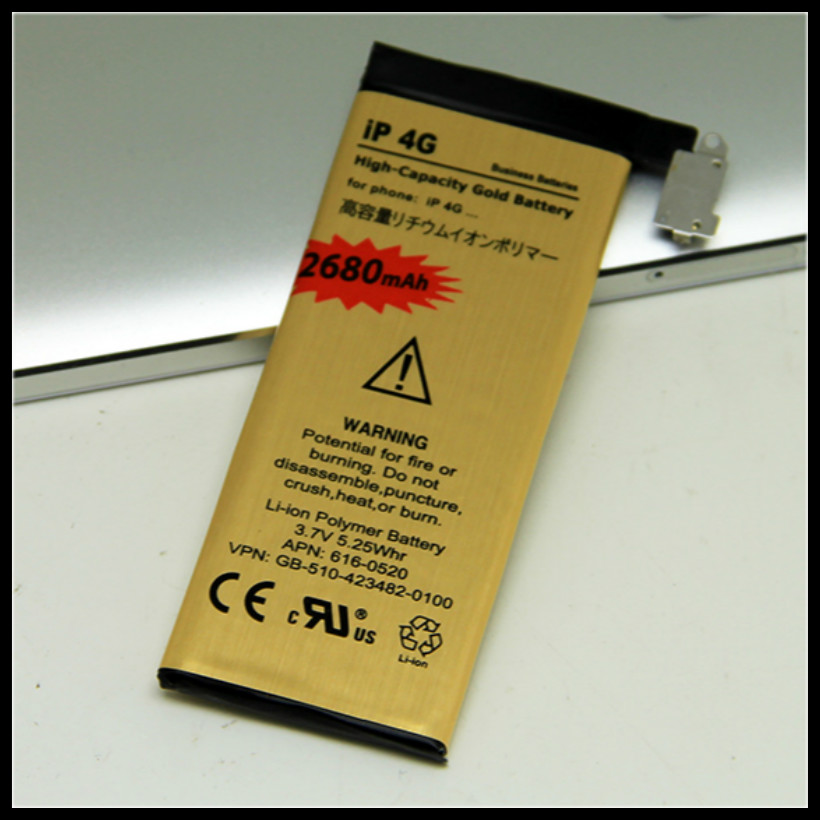 For iphone4/4G battery Zero-cycle High Quality Golden Battery for iPhone 4/4G Battery Free shipping(China (Mainland))