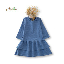High quality sale solid color girls dresses spring long sleeve cake dresses for girls cotton kids princess dresses for girls (China (Mainland))
