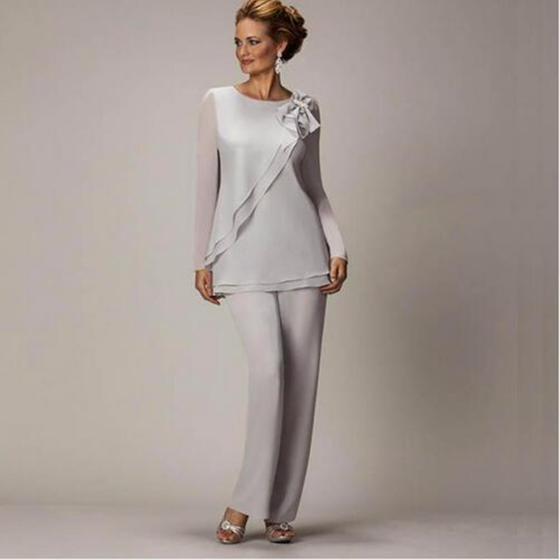 2016 Silver Mother's Pants Suit For Mother of The Bride Groom Ladies ...