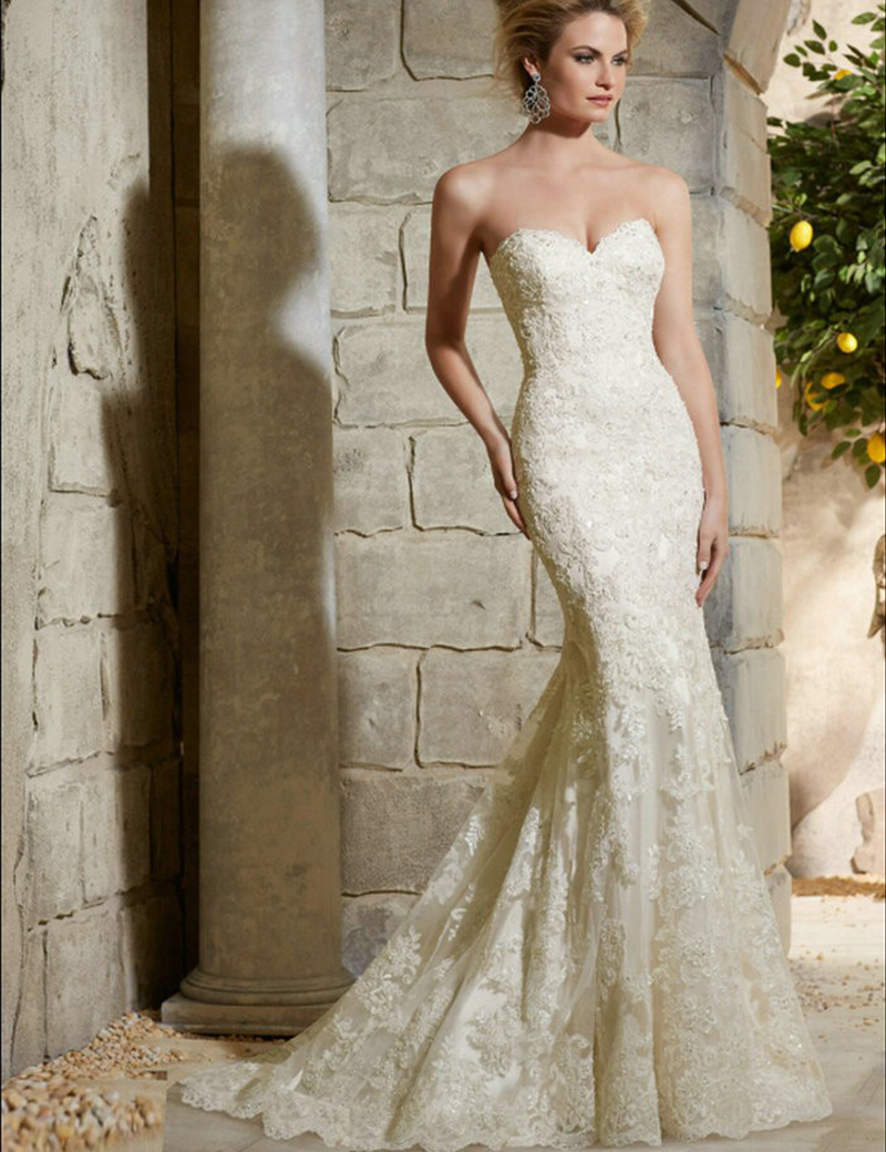 Don 39 s bridal satin sleeveless lace cheap plus size bride for Satin mermaid style wedding dresses