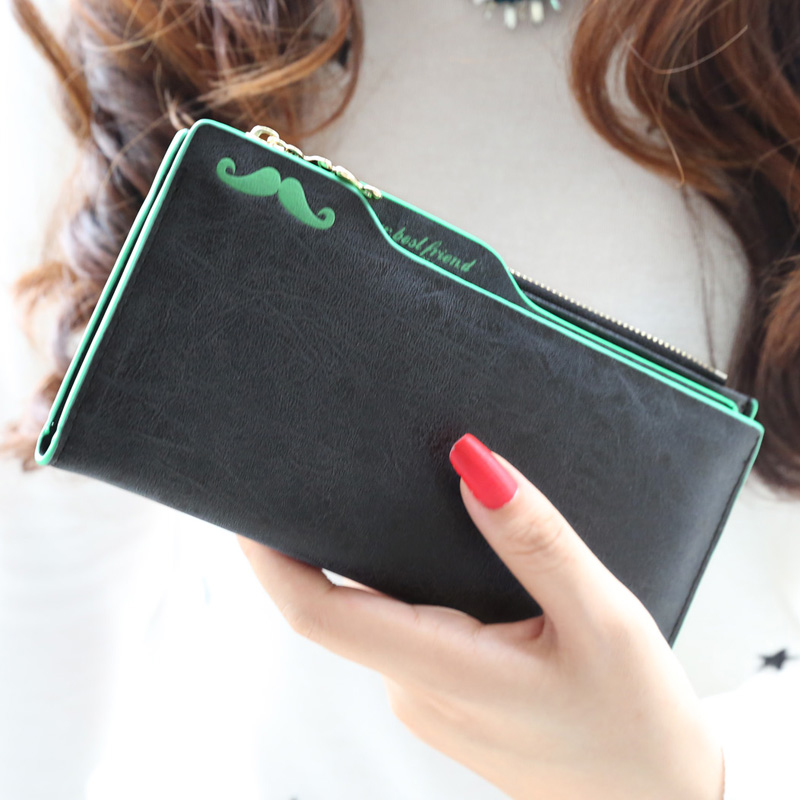 2015 New fashion women wallets Scrubs plug-in Nubuck mustache women multifunctional long design wallet lady's money clip purse(China (Mainland))