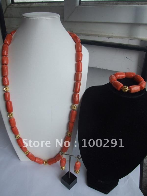 New Design Amazing!!! Long design to waist Red Coral Jewelry Coral Necklace Bracelet Earring //Gary(China (Mainland))