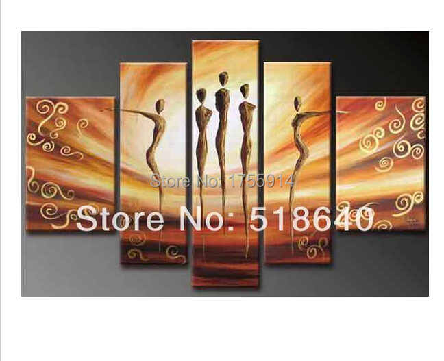 5 Pcs Strongly Recommend Combinative Canvas Oil Painting Impressive Dancing Picture Abstract Decoration(China (Mainland))