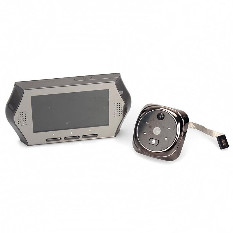 "Гаджет  Free Shipping!4.3"" Screen Wide Lens Door Peephole Viewer Camera DVR IR Motion Detection Doorbell Silver None Аппаратные средства"