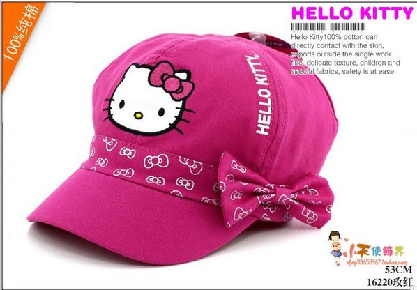 Free shipping 2015 New Arrival Hello Kitty Cap Spring and Summer Child Hat Girls Sun Hat Children Beret Sports Cap Fishman hat(China (Mainland))