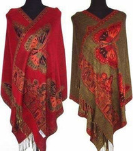 New Chinese Women's Pashmina&Silk Double-Side Butterfly Scarves Shawl/Scarf Wrap Red/Black/Purple/Blue(China (Mainland))