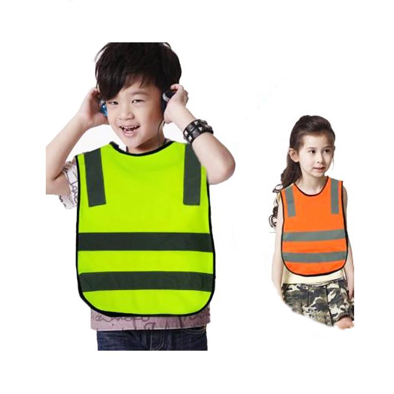 Высококачественный ребенок защитная одежда / дети жилет безопасности / высокая видимость защитную одежду / жилет безопасности оранжевый бесплатная доставка