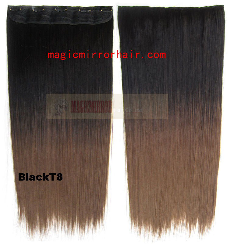 Ombre dip die hair extensions black to brown shade hairstyle hairpieces color washlight straight Clip-in Extension 130g 24''(China (Mainland))
