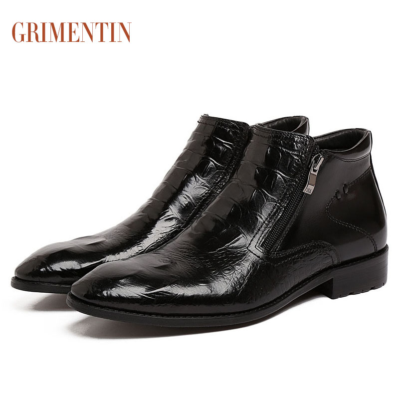 2016 Italian luxury brand fashion ankle mens leather boots black simple design zip dress men shoes for wedding business work 265(China (Mainland))
