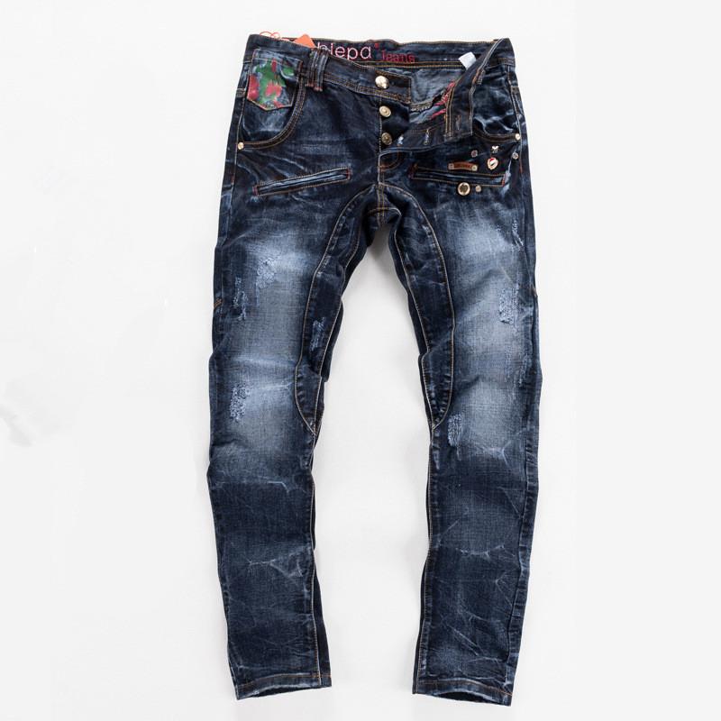 Biker jeans 2016 New Designer Slim Jeans Men High Quality hip hop Ripped Jeans pants Straight Hole Denim Jeans(China (Mainland))