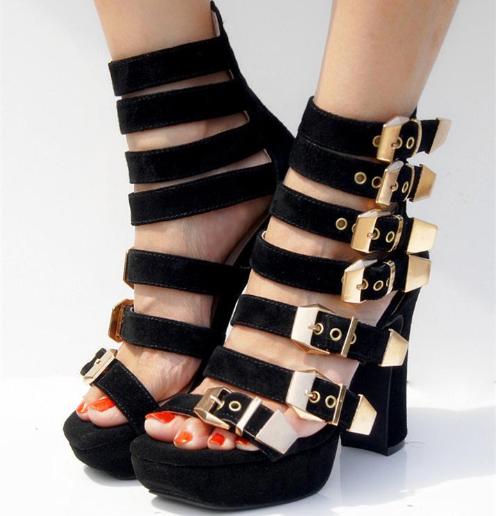 Здесь можно купить  Hot Sell Fashion Sexy Cut-outs High-heeled Open-toed Women Sandals/Nightclub Shoes WomanComfort Waterproof Buckle Singer Shoes  Обувь