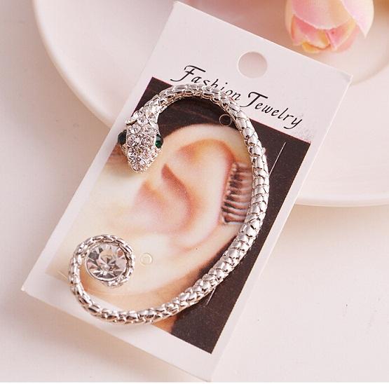 1pc 2016 Fashion Rhinestone Ear cuff Earrings,luxury Elegant gold silver plated exaggerated Punk snake Earrings(China (Mainland))
