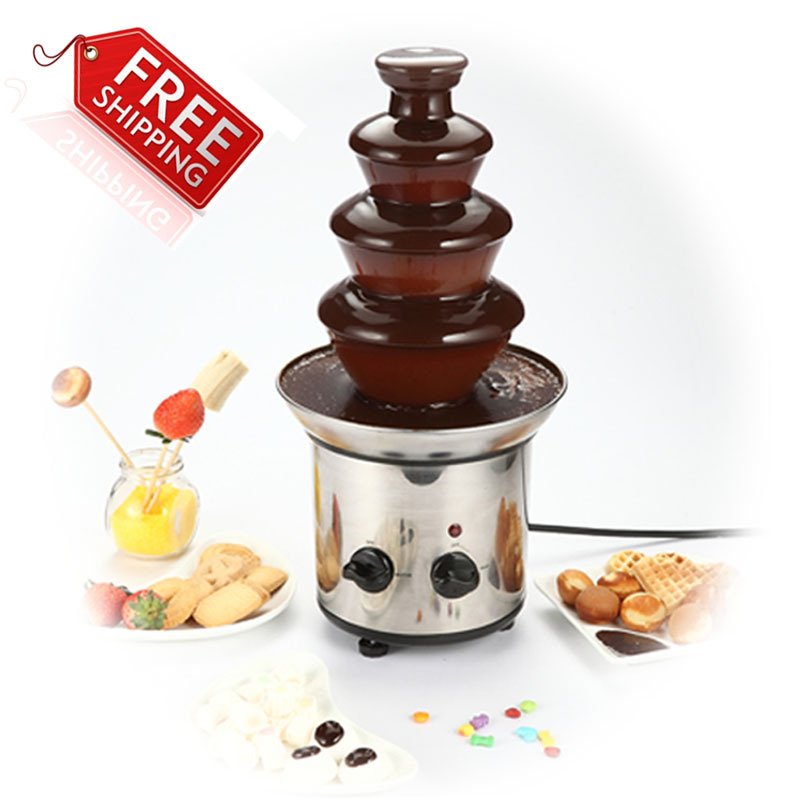 4 tiers home chocolate fountains chocolate fondue fountain with free shipping