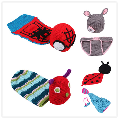 Handmade Cartoon Animal Style Knitted Crochet Velvet Baby Hat Beanie Caps Photograph Photo Props Costum Set Infant Gift - ShangHai Aokeshen co., LTD store