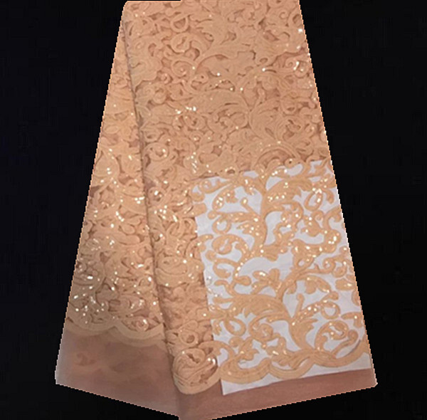 KX37-1!Peach! Free shipping African net lace with sequins, On sale French lace fabric, High quality net lace for party dress(China (Mainland))