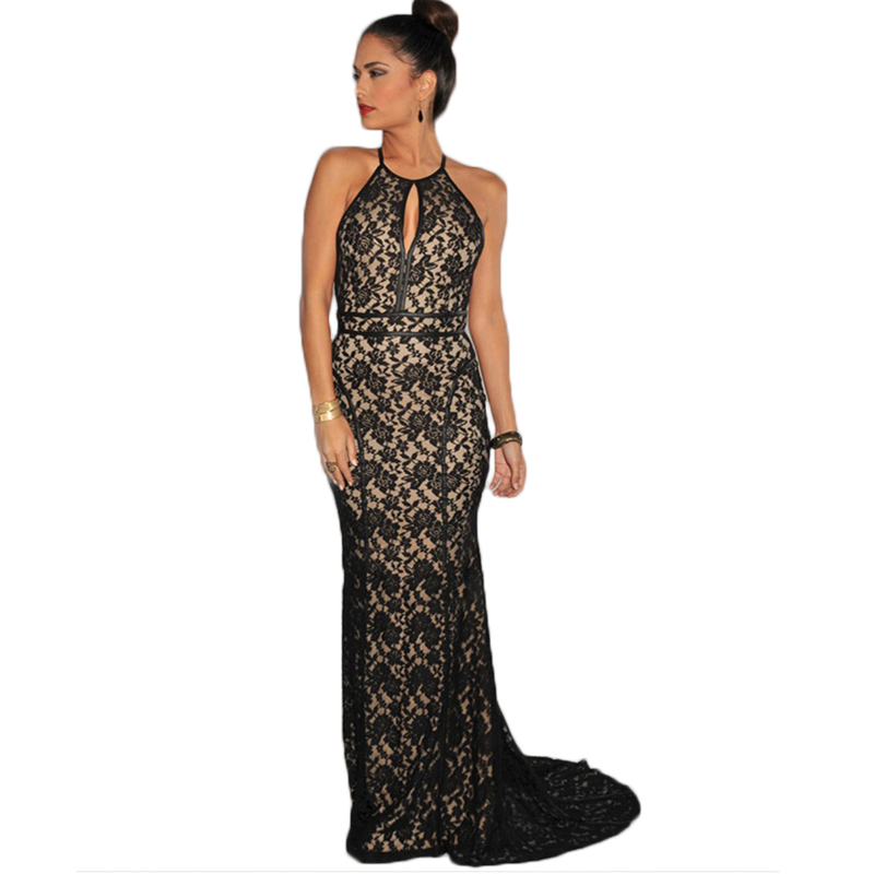 VE1032 Black summer sexy girl club wear floral lace halter bodycon backless dress new arrival women plus size long maxi dress(China (Mainland))