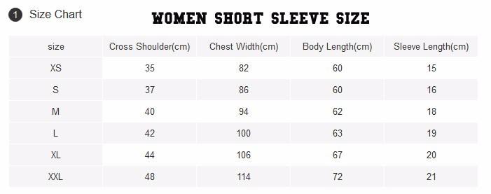 women t shirt sizing