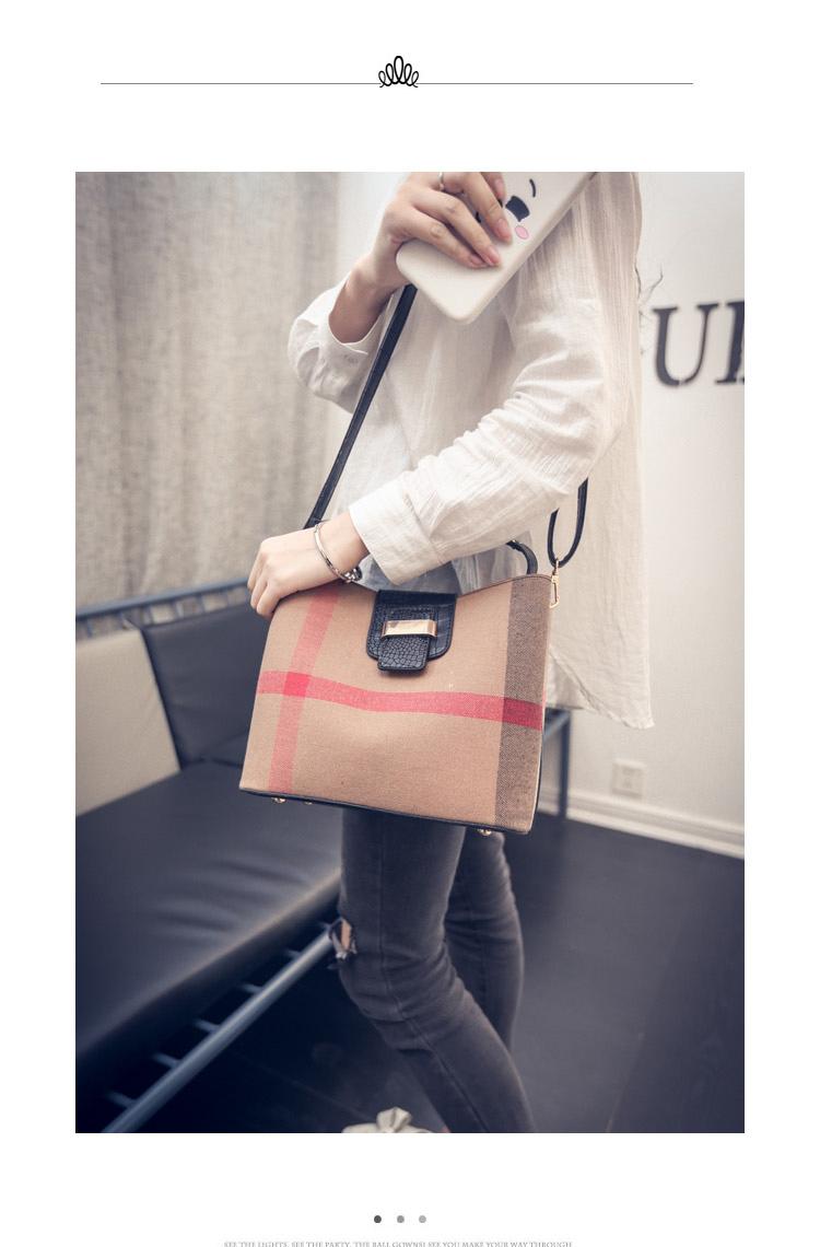 Chic Plaid PU Leather Bucket Bag Women Trendy Crocodile Printing Shoulder Bag Fashion Contrast Color Ladies Designer Hand Bag