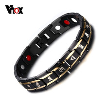 Vnox 8.5inch Top Quality Health Men Bracelet Bangle 316L Stainless Steel Magnetic Care Jewelry Black & Gold Plated(China (Mainland))