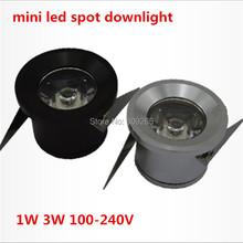 Free shipping 5pcs/lot Mini led spot downlight 1W 3W cabinet lamp white,warm white AC85-265V include led driver mini light(China (Mainland))