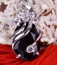 Pretty Stunning real black jade Pendant Necklace(China (Mainland))