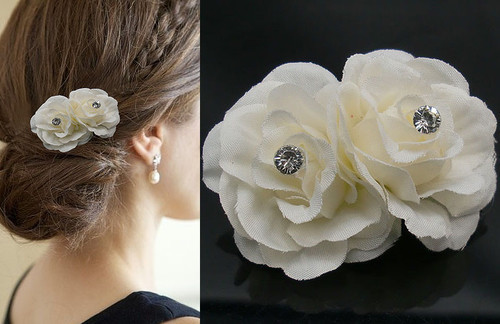 20Pcs Free Shipping High Simulated Artificial Rose Flower Hair Clips, Wedding Party Woman Flower Hair Fascinator HF028(China (Mainland))