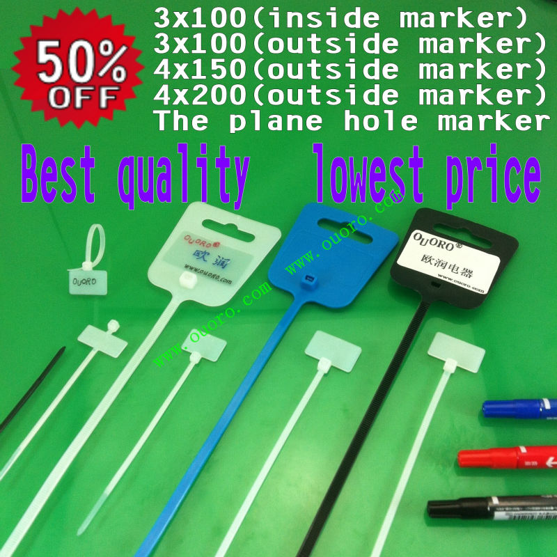 100Pcs 3x100(outside marker label) Zip Ties Write On Ethernet RJ45 RJ12 Wire Power Cable Label Mark Tags nylon cable tie(China (Mainland))