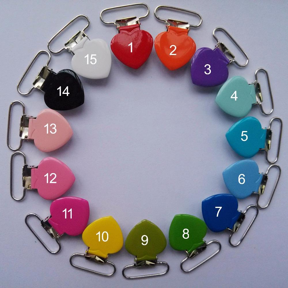 Wholesale 50 pcs Heart Shap Metal Clips Enamel Pacifier Clips / Suspender Clips Suppliers&Manufacturers(China (Mainland))