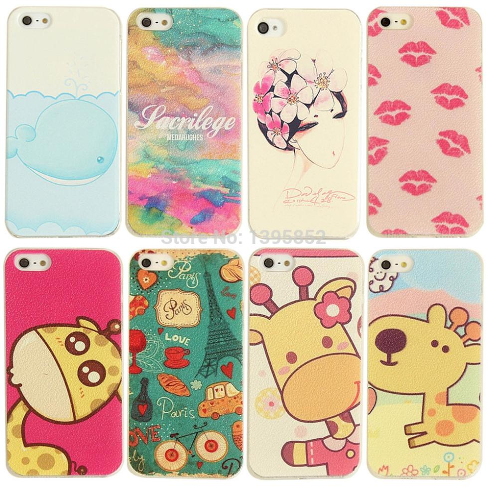 For iPhone 5 5S Special Discount! Plastic Phone Cases Cute Animals Plastic Painted Phone Cover BJD131 135(China (Mainland))