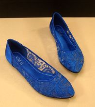 Free Shipping 2013 New Korean Women's Casual Lace Pointed Toe Flats Shoes ,Blue,Black,Gold  35-41(China (Mainland))