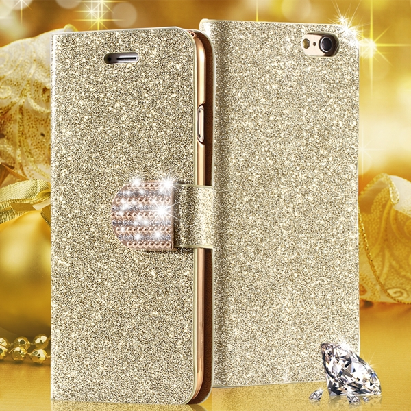 6s Bling Diamond Fashion Case Iphone 6 Full Wallet Leather Bag Shiny Buckle Card Slot Stand Cover Cell Phone - RCD Group Co., Ltd store