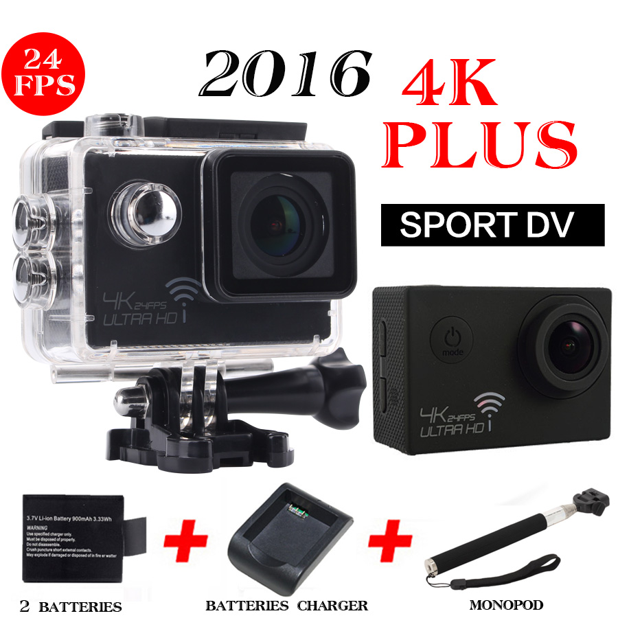 Фотография goro hero 4 style New 4K 24fps Action Camera Waterproof  Wifi Sports Camera NTK96660 Cam Diving   2 Batteries+1 Monopod