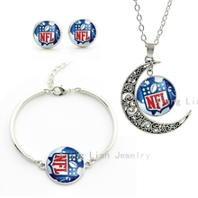 Exquisite american football rugby sport necklace earrings bracelet set National Football League NFL helmet jewelry sets NF166(China (Mainland))
