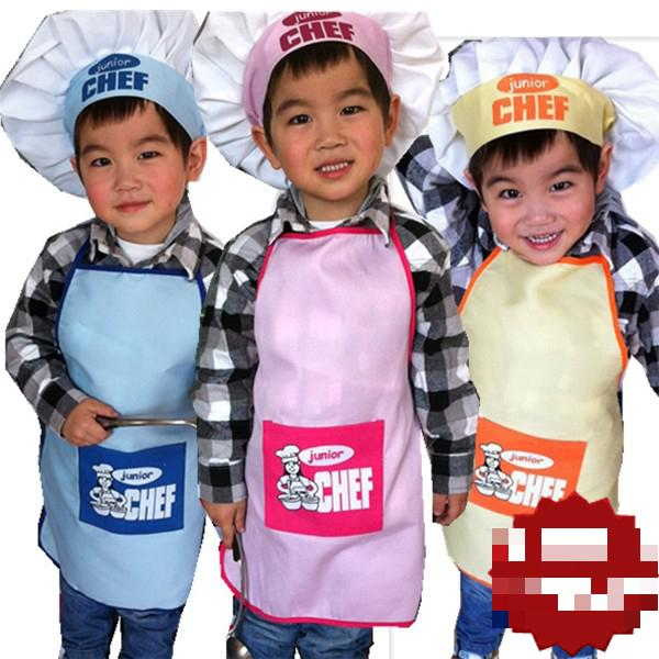 Free Shipping Brand New Kids Cook Apron Children Costume Sets Painting Apron Chef Hat and Apron(China (Mainland))