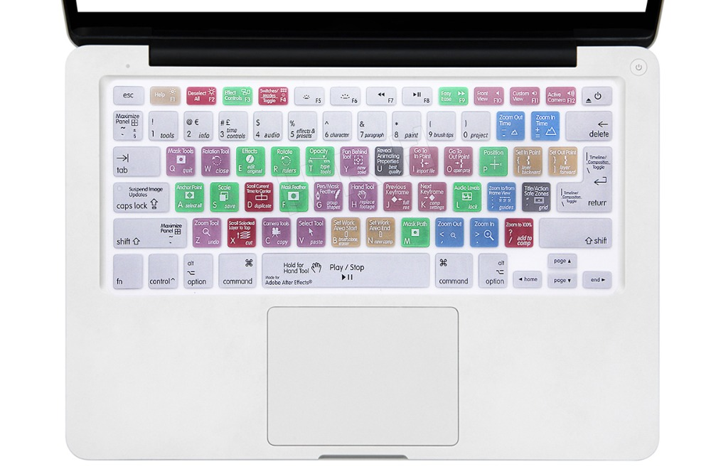 "For A1278 Adobe After Effects Shortcuts Hotkeys Design Silicone Keyboard Skin Cover for Macbook Pro Retina Air 13"" A1369 15"" 17(China (Mainland))"