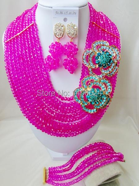 Luxury Fuchsia Crystal Necklaces Bracelet Earrings African Nigerian Wedding Beads Jewelry Set  A-7867<br><br>Aliexpress
