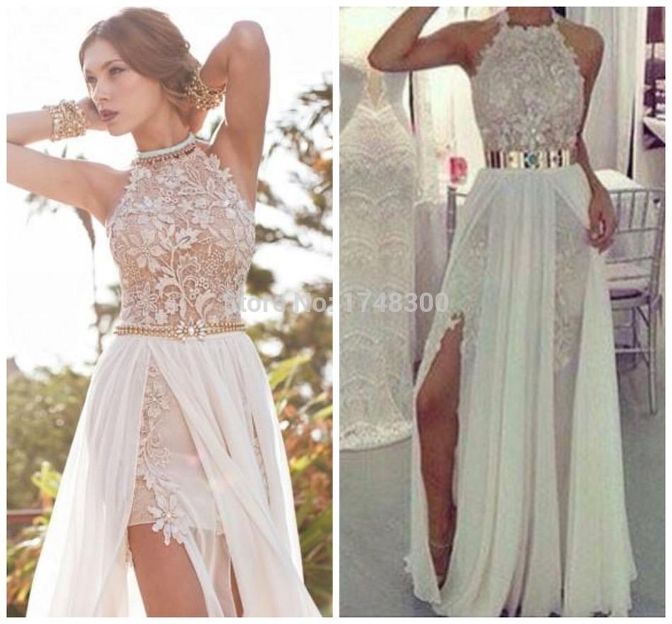 Summer Beach Halter White Ivory Wedding Dresses Long Chiffon Golden Sash Lace Cheap Bridal Party