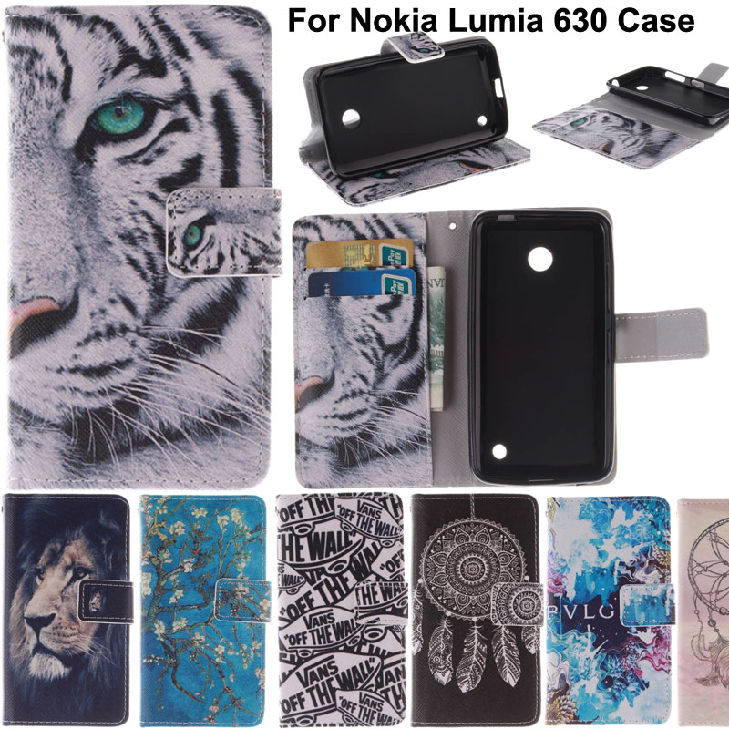 N630 Fashion Design Printing Luxury Leather Cell Phone Case Flip Cover For Nokia Lumia 630 635 N630 N635 With Card Slots Stand(China (Mainland))