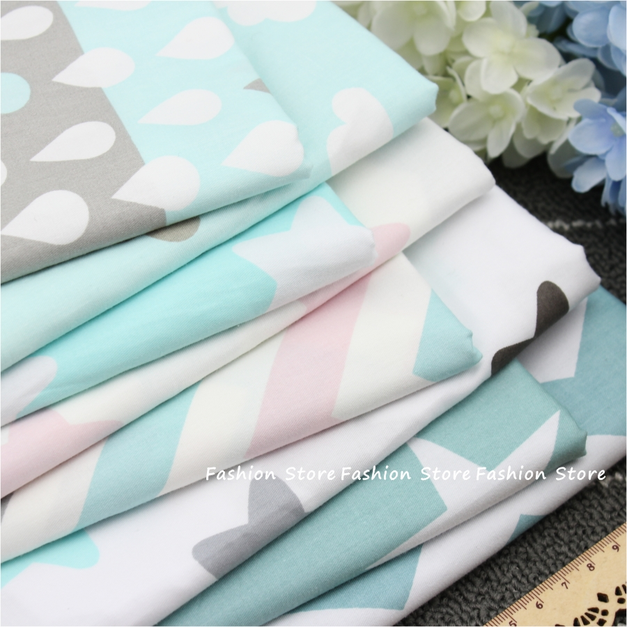 Twill 8 pcs Cartoon Star and Wave Cotton Fabric DIY Patchwork Sewing Kids Bedding Bags Cloth Textiles sheet Fabric 40*50cm(China (Mainland))