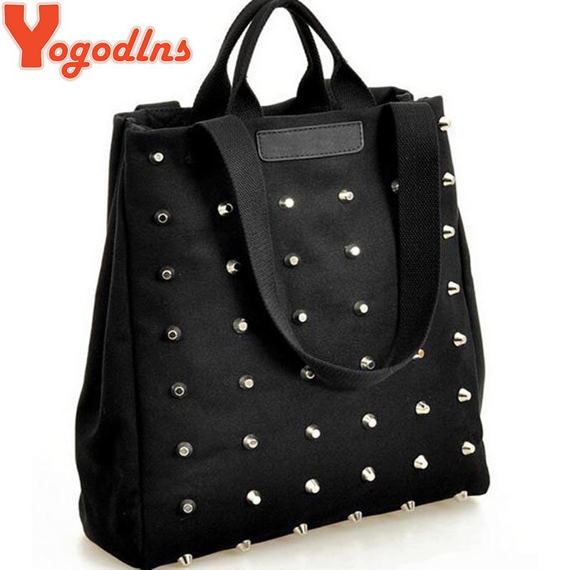 Hotsale women's handbag preppy style punk rivet handbag thickening canvas bag student bag(China (Mainland))