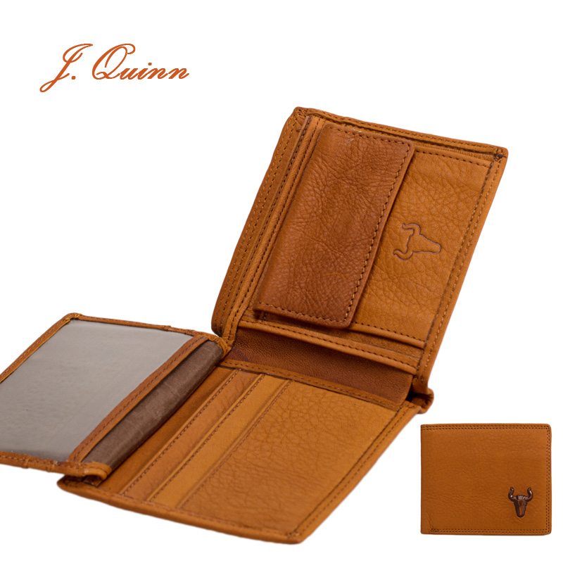 J.Quinn Walet Men Sports Wallet Coin Purse Holder ID Flap Small Leather Mens Purses Genuine Cow Bifold Short Wallets For Men(China (Mainland))