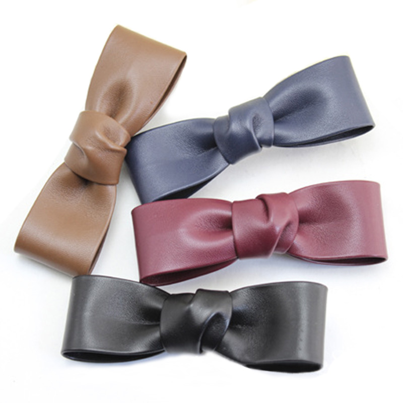 12pcs/lot 2016 Solid PU Leather Bow Hair Clips Women Girls Hair Bow Kids Alligtor Clips Fashion Korean Hair Accessories(China (Mainland))