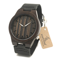 BOBO BIRD B13 Men s Wood Wristwatch Luminous Hand Sandalwood Quartz Watch with Soft Black Leather