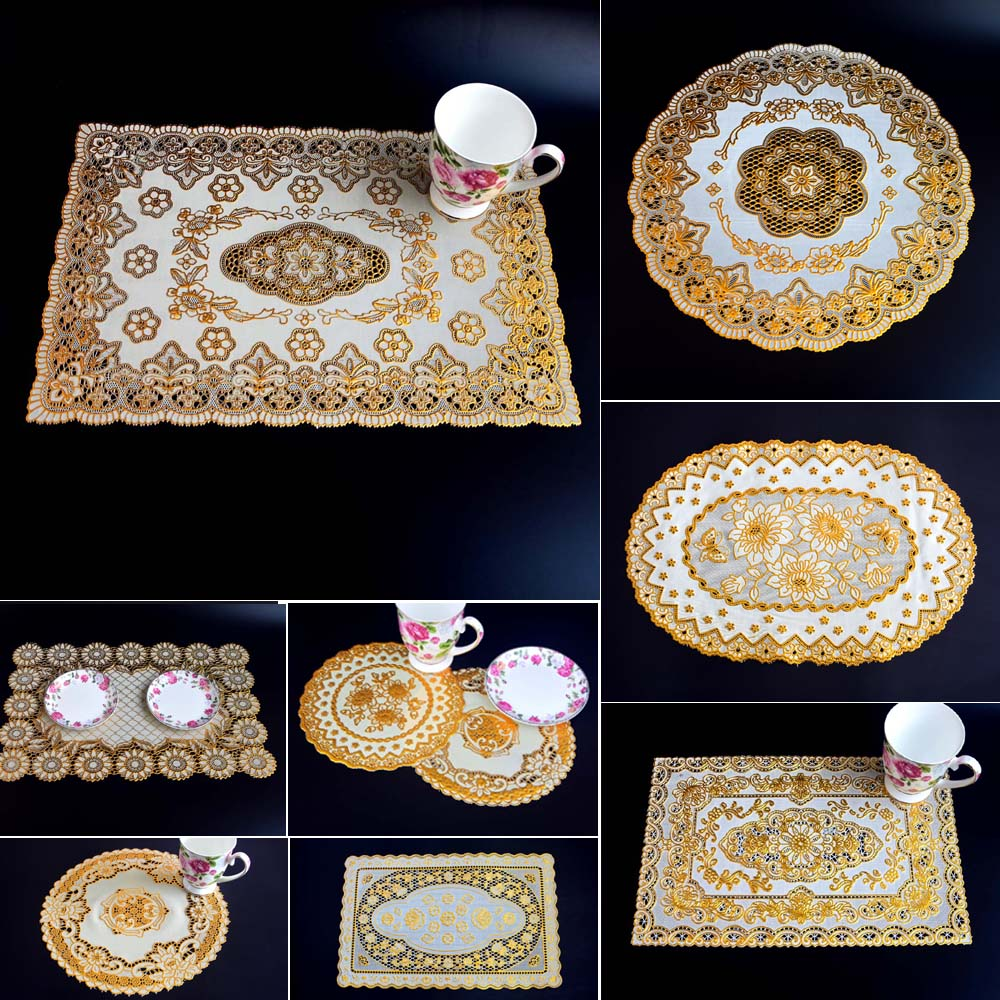 6pcs Bronzing Pvc Placemat Dining Table Mat Golden Coaster Waterproof Insulation Pad Tableware Utensil Restaurant Supplies
