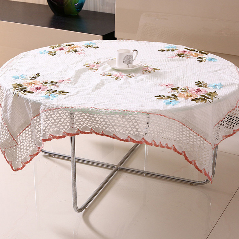 Chinese Handmade Ribbon Embroidery Table Cloth Round ...