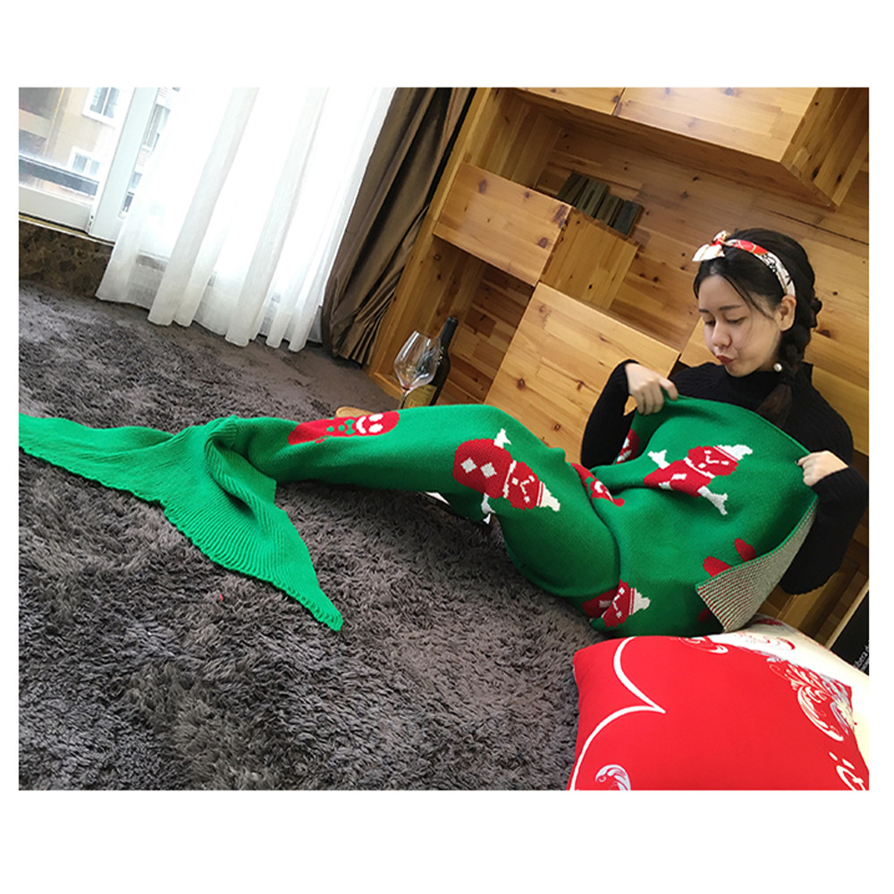 knitted mermaid tail blanket handmade crochet bed wrap sleeping bag scarf new designed branded hot selling  high quality cool