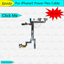 10pcs/lot High Quality On / Off Power Switch Flex Cable For iPhone 5 5G Power Button Flex Cables Mobile Phone Part Free shipping